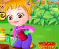 Bebê Hazel brincando no jardim