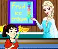 Fabricando picolés de fruta com a Elsa