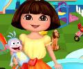 Montando o parque no jardim da Dora