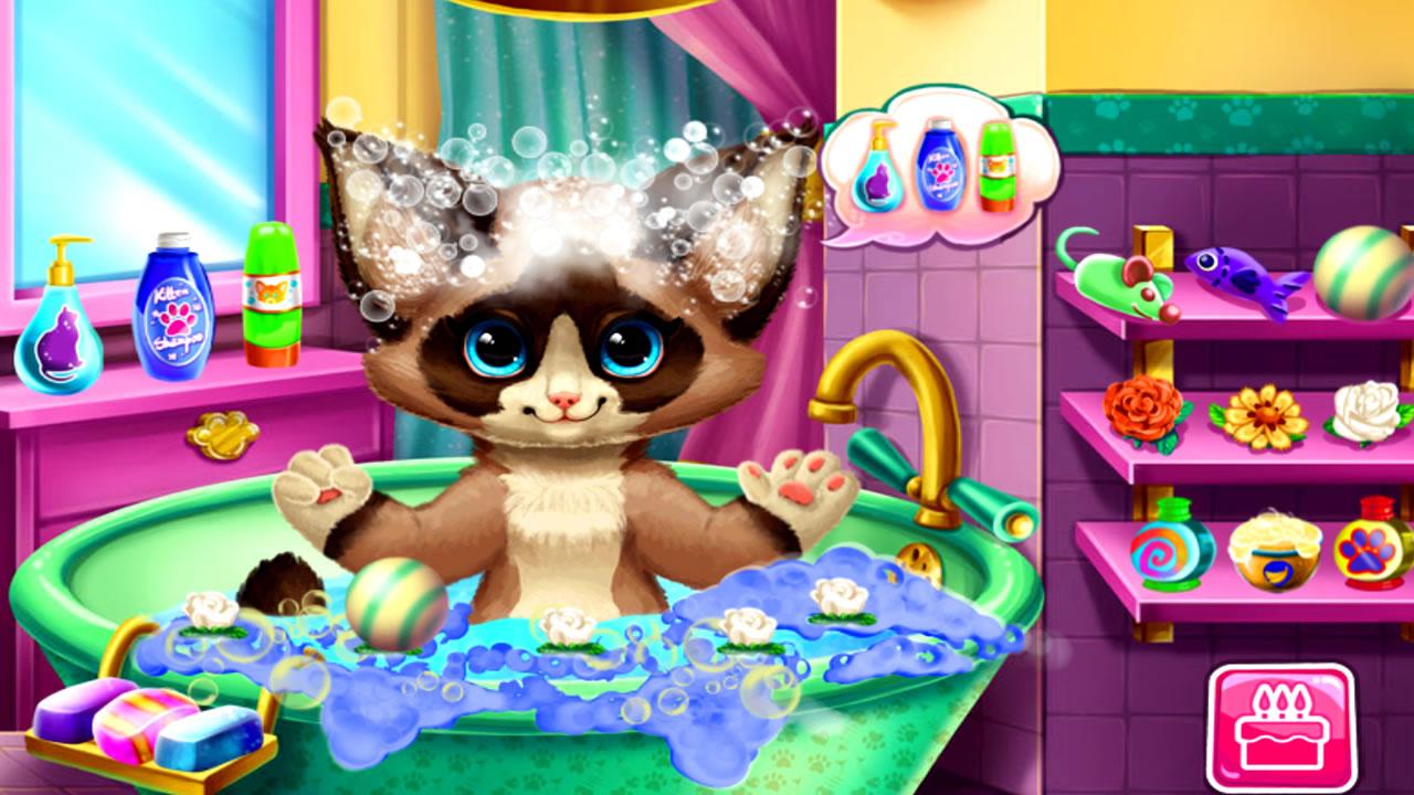 Lavando o gatinho abandonado Kitten
