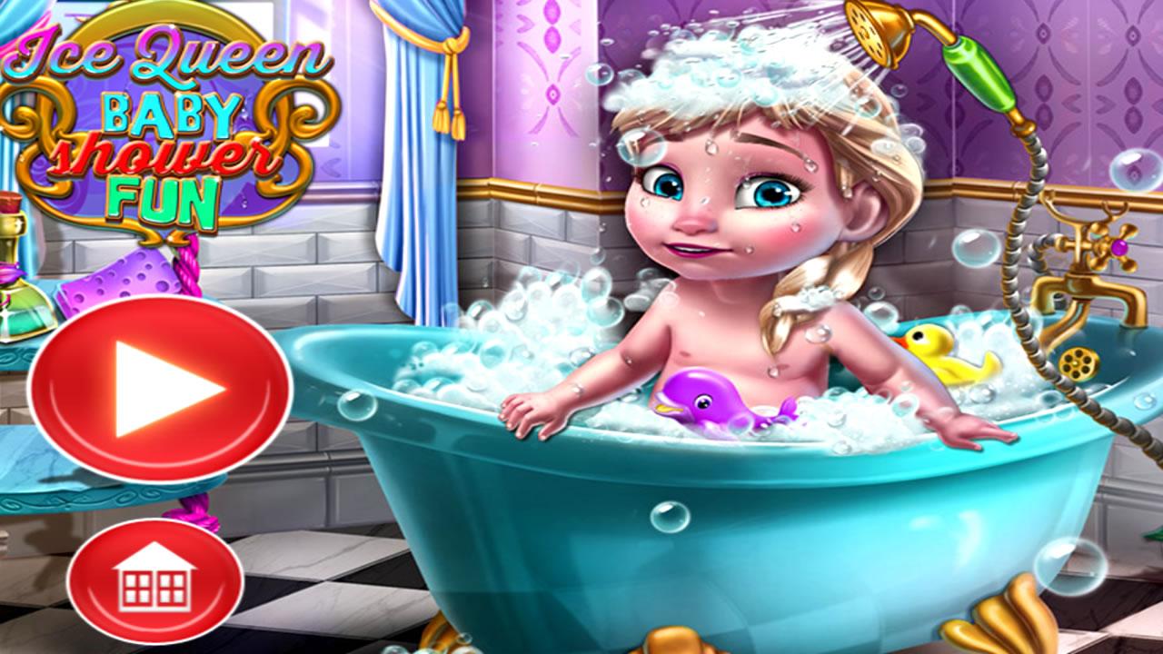 Dando banho na bebê princesa Elsa