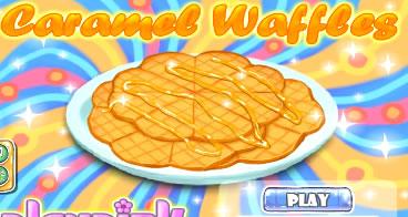 Aprendendo a fazer waffles de caramelo