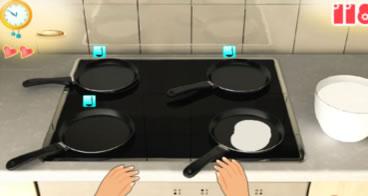 A panqueca do dia - Fazendo panquecas na cozinha