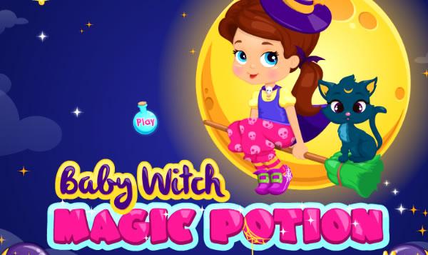 Fazendo poções mágicas com a pequena bruxa