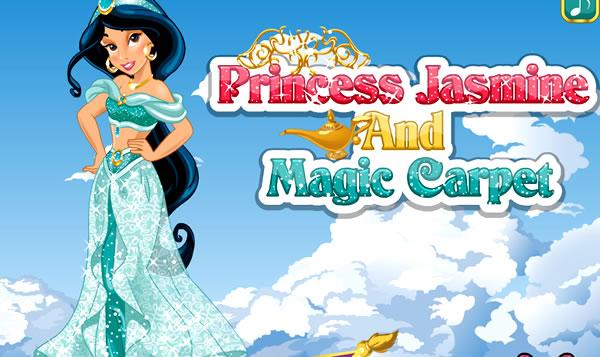 A linda princesa Jasmin e o tapete mágico